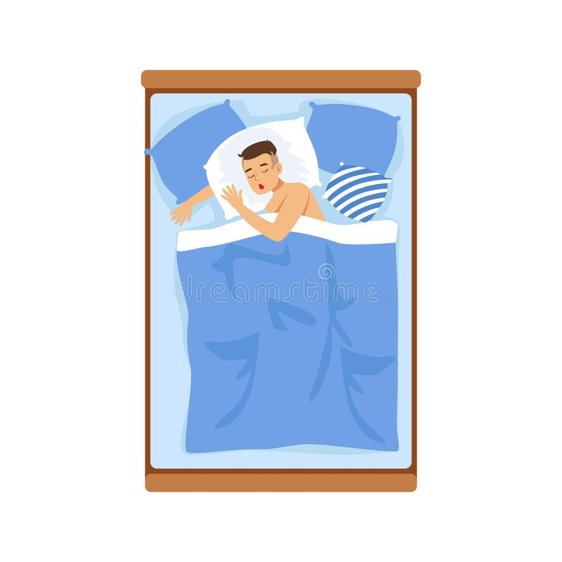 Homem novo que dorme em sua cama, ilustração de relaxamento do vetor da pessoa ilustração stock