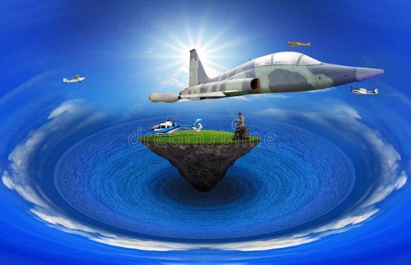 Homem novo que está na ilha de flutuação com abov do voo do plano de ar ilustração stock