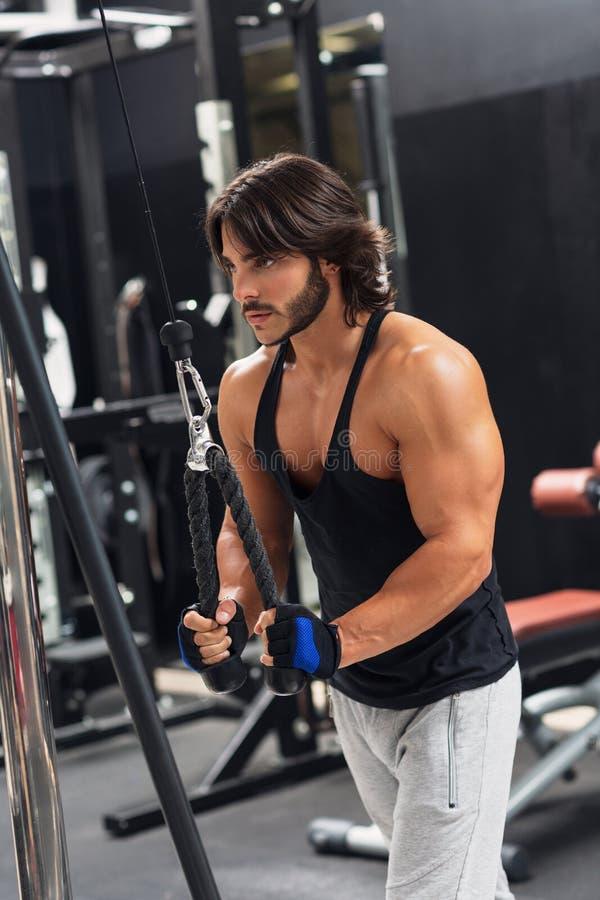 Homem novo que exercita o pulldown do tríceps no gym foto de stock royalty free