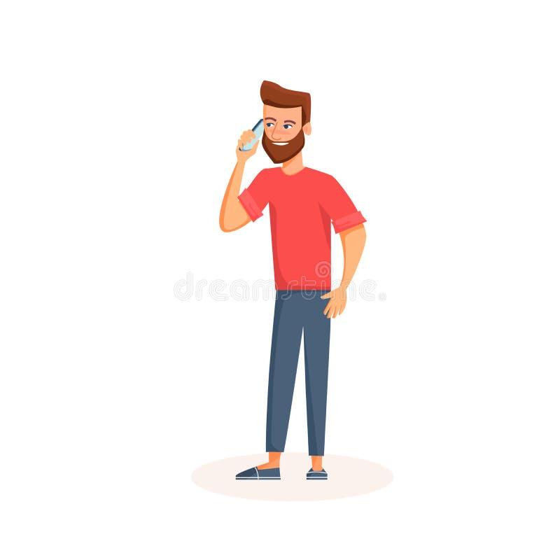 Homem novo que fala em um telefone com cara de sorriso Personagem de banda desenhada que usa o smartphone Isolado no fundo branco ilustração do vetor