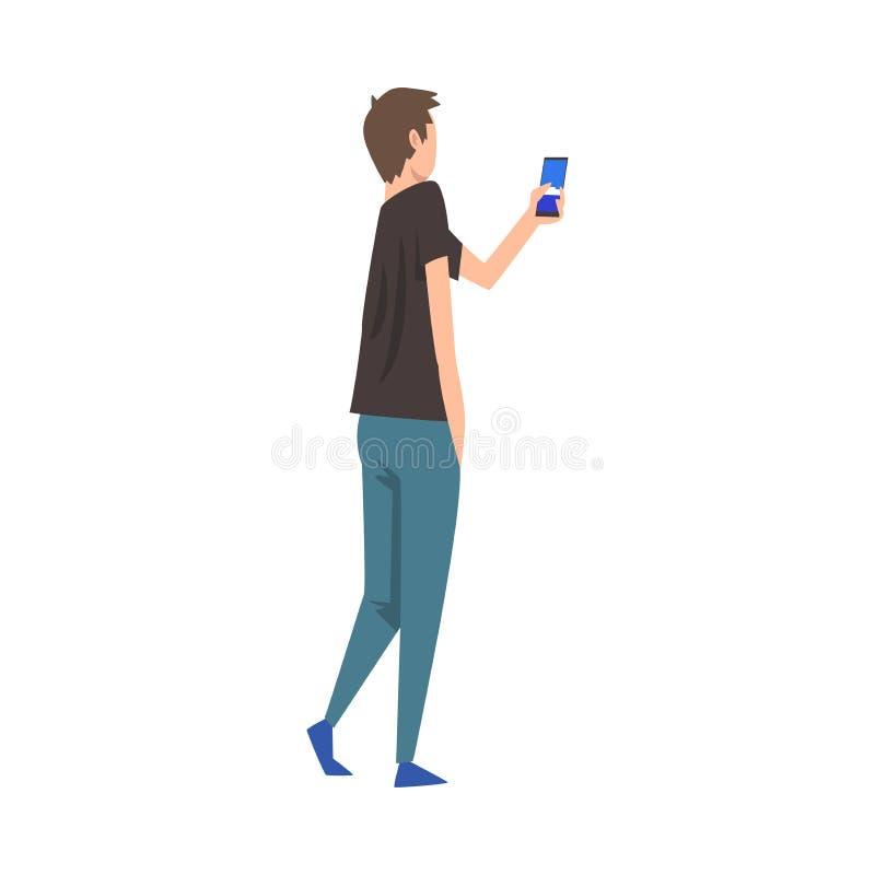 Homem novo que fotografa, indiv?duo que toma a foto usando a ilustra??o do vetor do smartphone isolada em um fundo branco ilustração stock