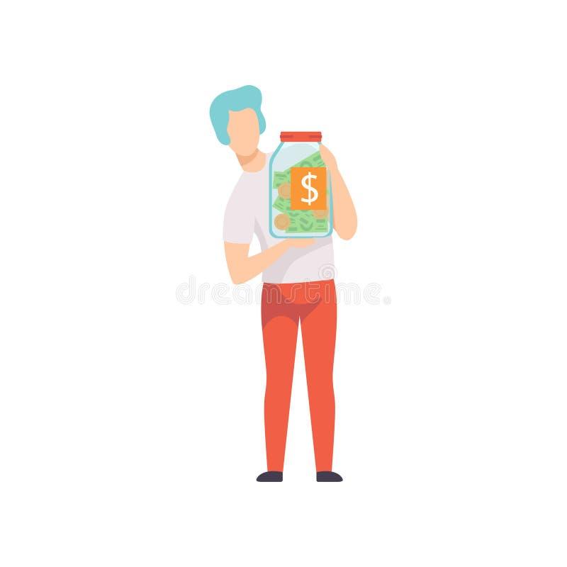 Homem novo que guarda o frasco de vidro com contas de dinheiro e moedas, economia e investindo a ilustração do vetor do conceito  ilustração do vetor