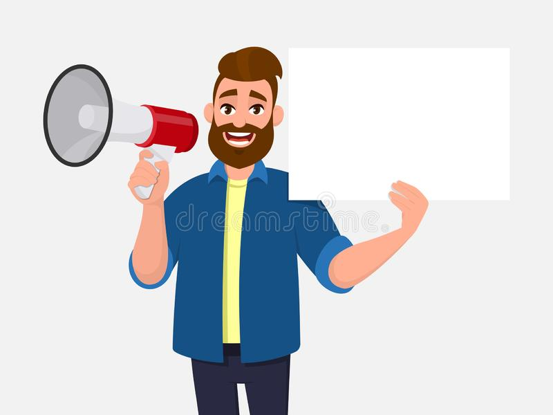 Homem novo que guardam um megafone ou um altifalante & mostrar/que indica a placa, cartaz branco vazio, folha, papel, placa O hom ilustração stock