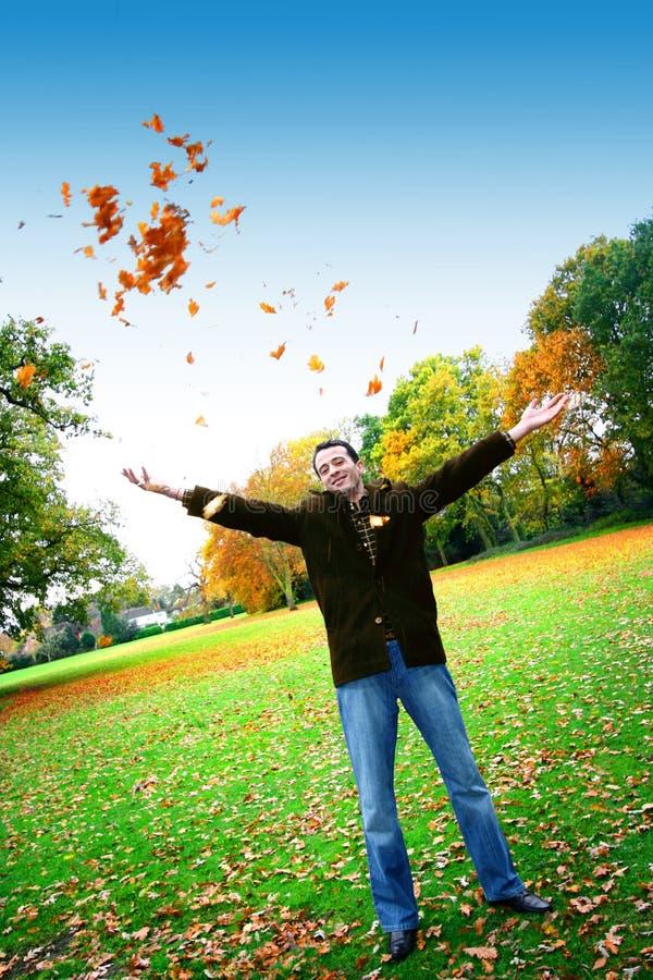 Homem novo que joga acima as folhas de outono foto de stock