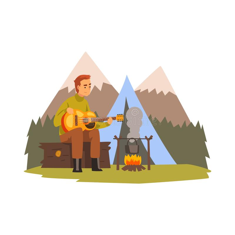 Homem novo que joga a guitarra, a paisagem da montanha do verão, caminhando o conceito do curso da aventura, do acampamento e do  ilustração do vetor