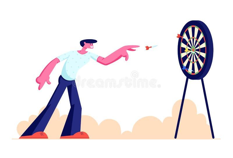 Homem novo que joga o ar livre dos dardos, dardo do lance do caráter na placa do alvo, recreação, esportes atividade, tempo livre ilustração royalty free