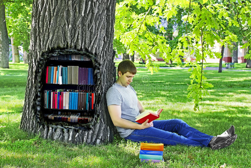 Homem novo que lê um livro que senta-se na grama verde que inclina-se em uma árvore no parque imagens de stock
