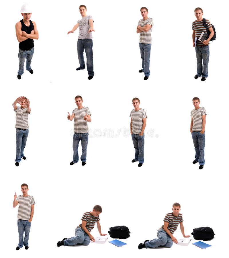 Homem novo que levanta em posições diferentes imagens de stock