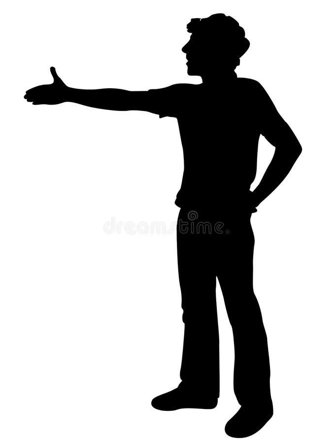Homem novo que oferece agitar a mão ilustração stock