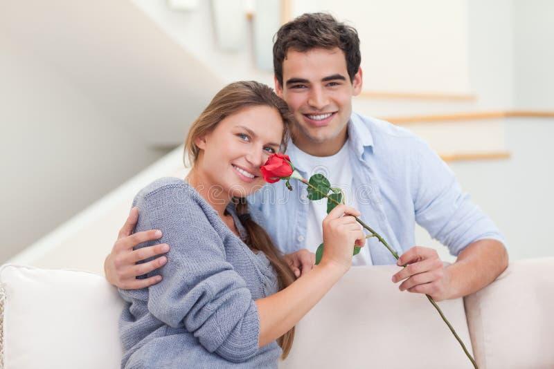 Homem novo que oferece uma rosa a sua amiga foto de stock