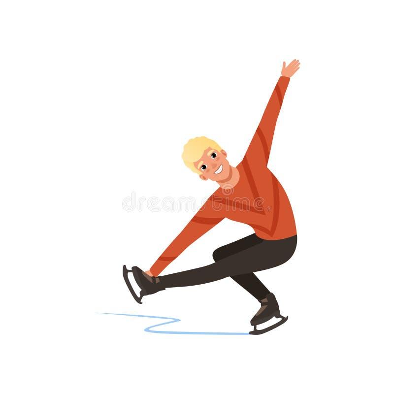 Homem novo que patina, atleta masculino do patinador artística que pratica na ilustração interna do vetor da pista de patinagem e ilustração do vetor