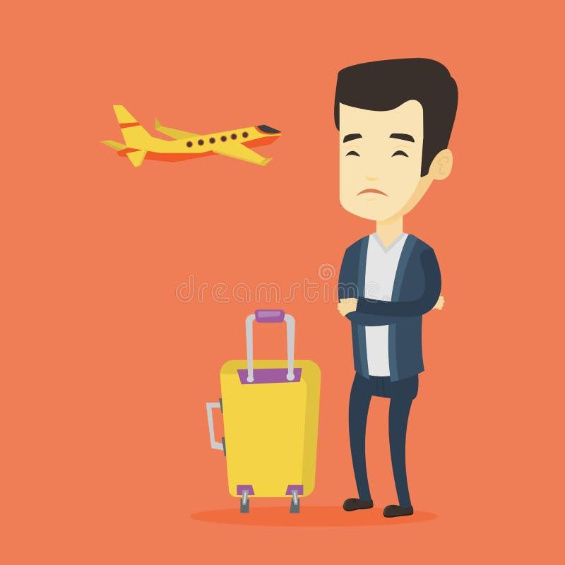 Homem novo que sofre do medo do voo ilustração do vetor