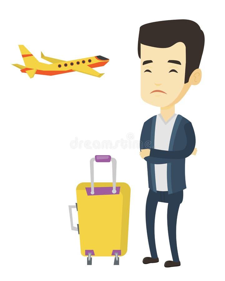 Homem novo que sofre do medo do voo ilustração stock