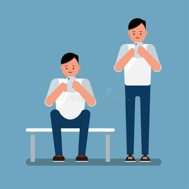 Homem novo que usa o Internet da consultação do smartphone, para levantar-se e sentar-se para baixo ilustração stock