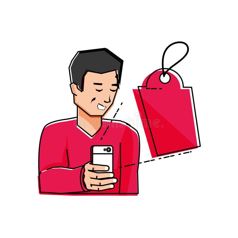 Homem novo que usa o smartphone com etiqueta comercial ilustração do vetor