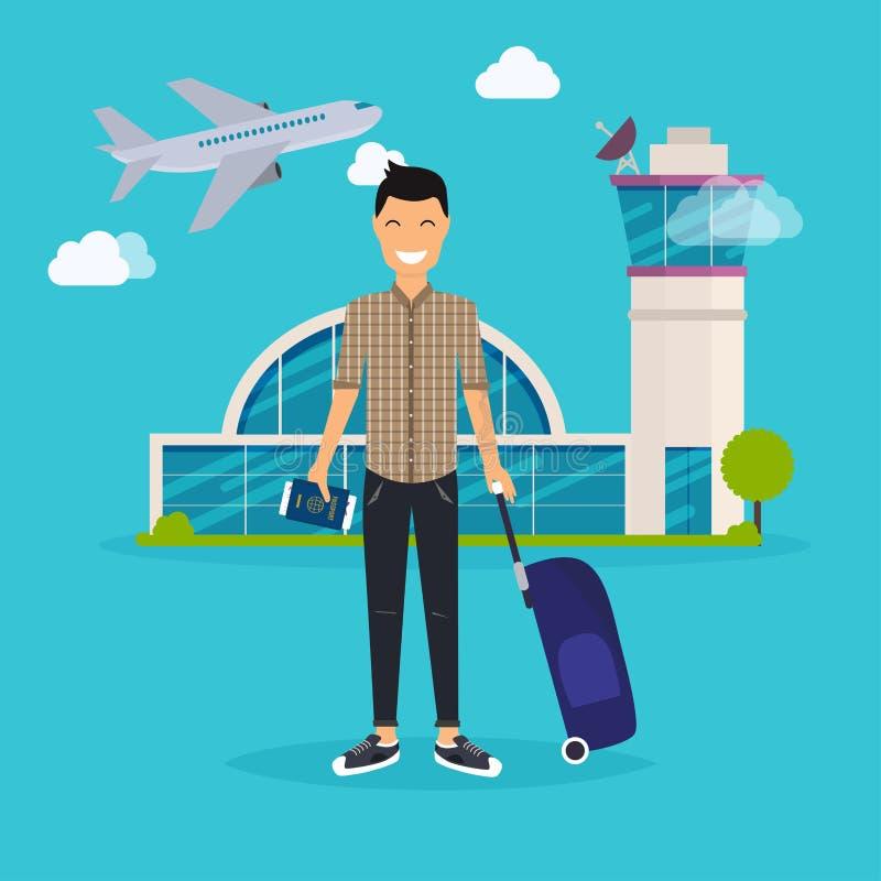 Homem novo que viaja com saco do curso, guardando o passaporte e o bilhete ilustração royalty free