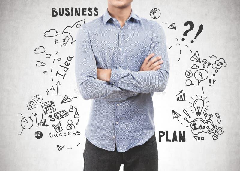 Homem novo seguro, plano de negócios fotos de stock royalty free