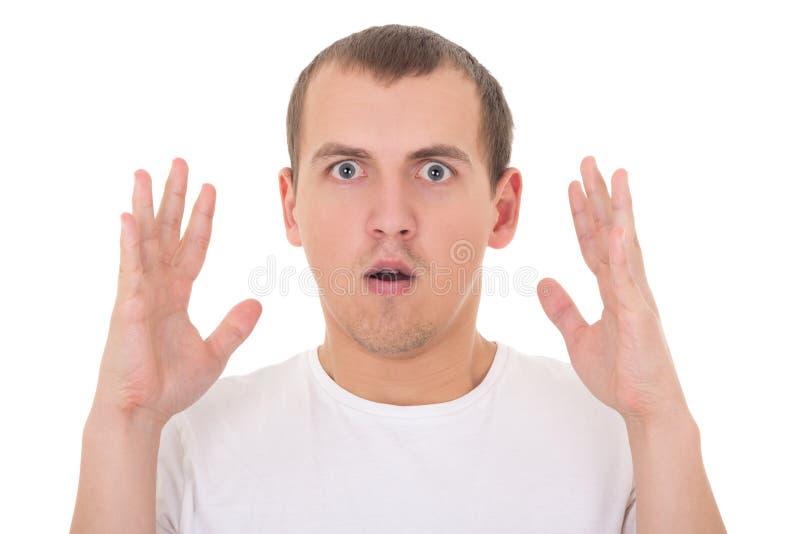 Homem novo surpreendido isolado no branco imagens de stock royalty free