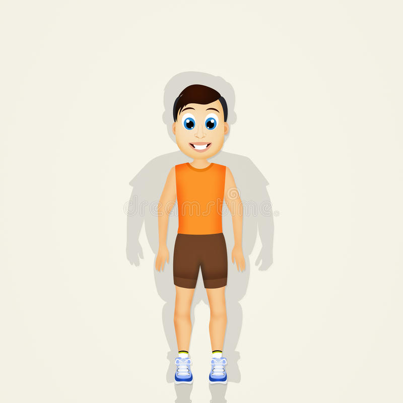 Homem obeso antes de treinar ilustração stock