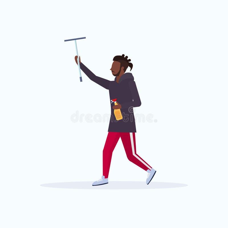 Homem ocasional afro-americano do rodo de borracha masculino do limpador do chuveiro da terra arrendada do líquido de limpeza e d ilustração stock