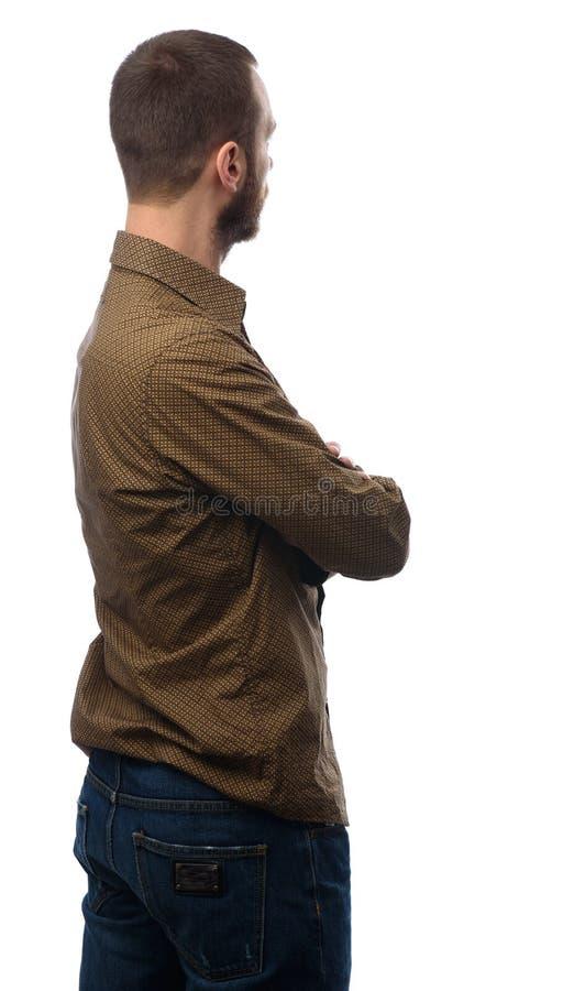 Homem ocasional da parte traseira que olha afastado imagens de stock