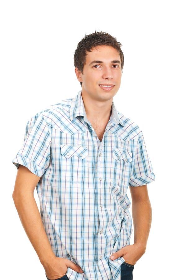 Homem ocasional de sorriso foto de stock