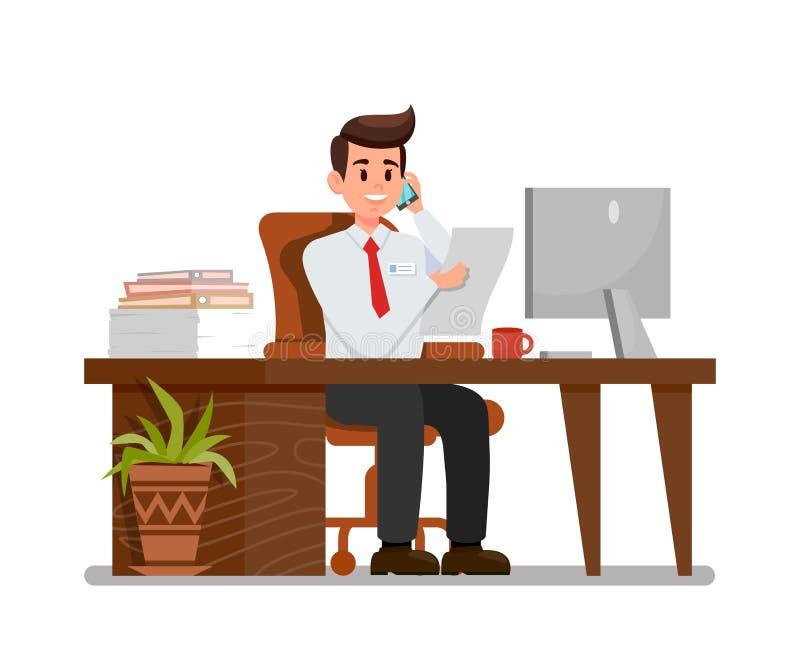 Homem ocupado na ilustração lisa do vetor do local de trabalho ilustração do vetor
