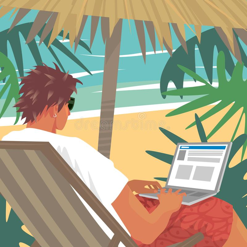 Homem ocupado que trabalha no portátil na praia tropical ilustração royalty free
