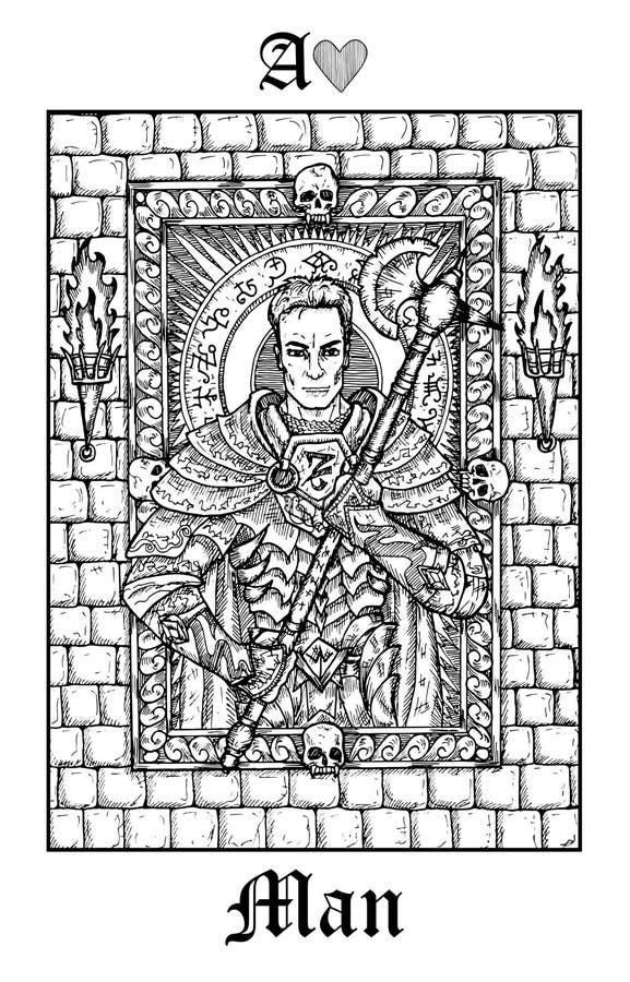 Homem ou cavaleiro Cartão de tarô da plataforma gótico do oráculo dos mistérios de Lenormand do vetor ilustração do vetor