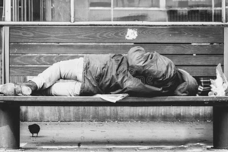 Homem ou refugiado desabrigado pobre que dormem no banco de madeira na rua urbana na cidade, no conceito documentável social, no  fotos de stock royalty free
