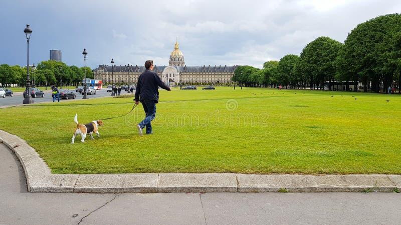 Homem parisiense caminha com cão em campos verdes de grama perto de Disabled House, Les Invalides Museum com cúpula dourada, Pari imagem de stock royalty free