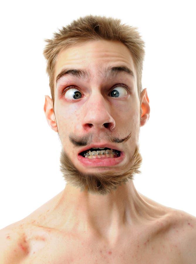 Homem parvo com olhos cruzados fotografia de stock