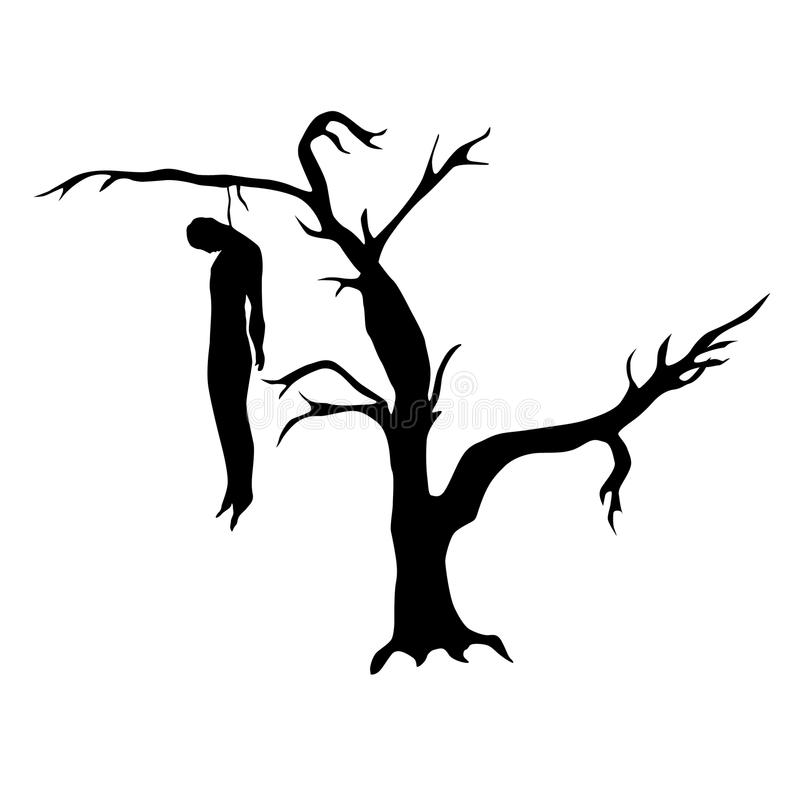 Homem pendurado de uma árvore inoperante ilustração royalty free