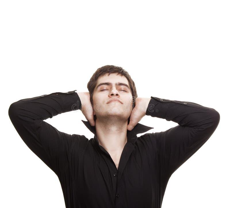 Homem pensativo com olhos fechados foto de stock royalty free