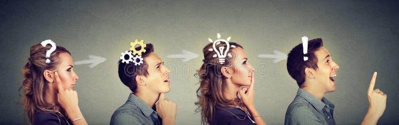 Homem pensativo e mulher que pensam resolvendo junto um problema comum foto de stock royalty free