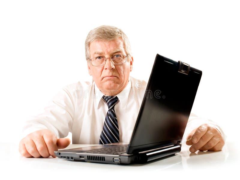Homem pensativo infeliz idoso imagem de stock