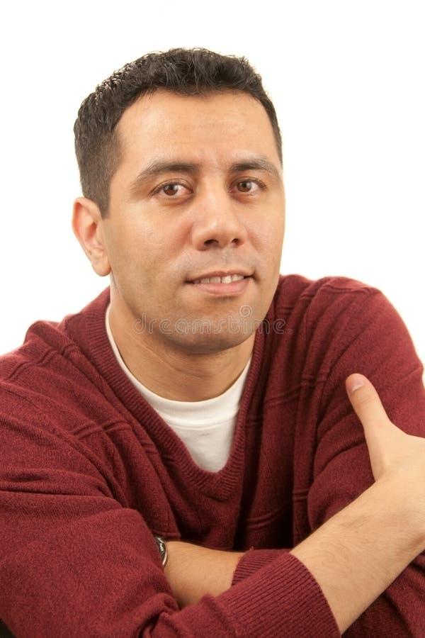 Homem pensativo satisfeito foto de stock royalty free
