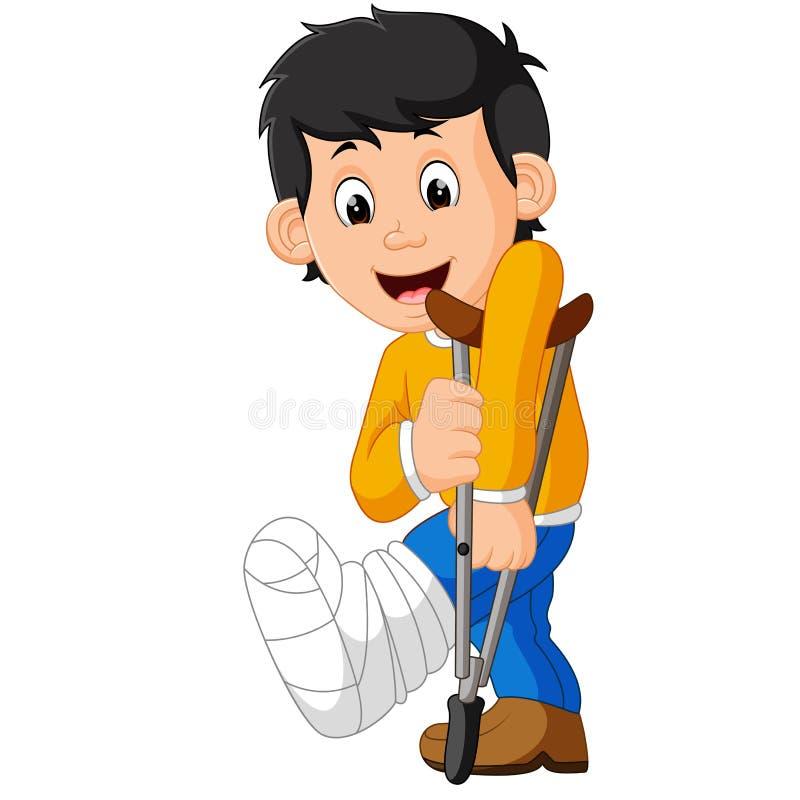Homem pequeno com pé quebrado ilustração stock