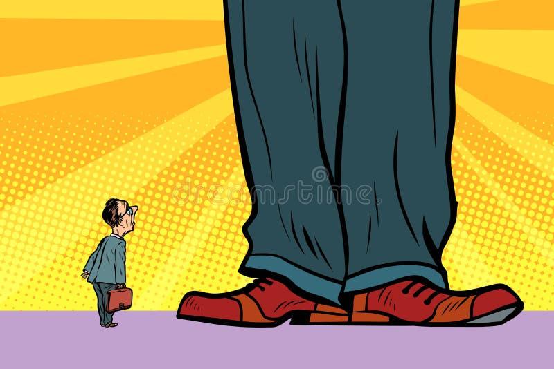 Homem pequeno e chefe gigante ilustração royalty free