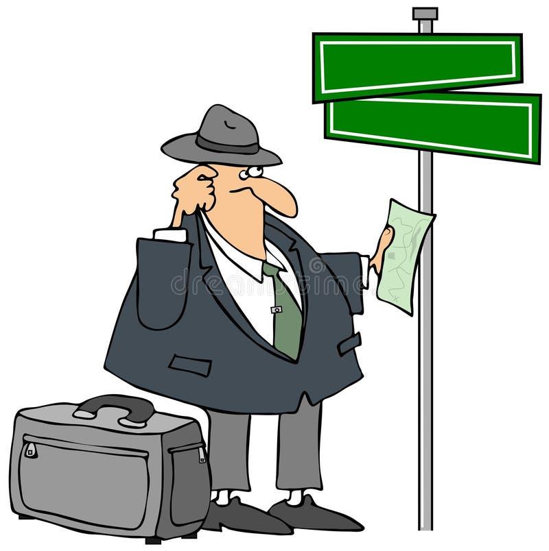 Homem perdido e um Streetsign ilustração do vetor
