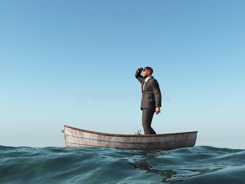 Homem perdido em um barco ilustração do vetor