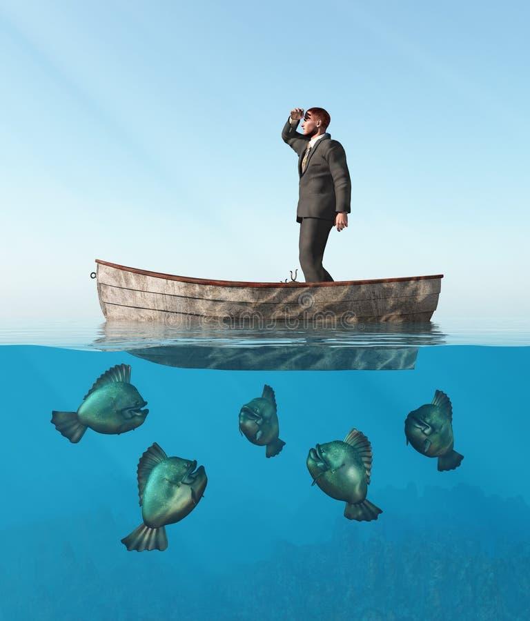 Homem perdido em um barco ilustração stock