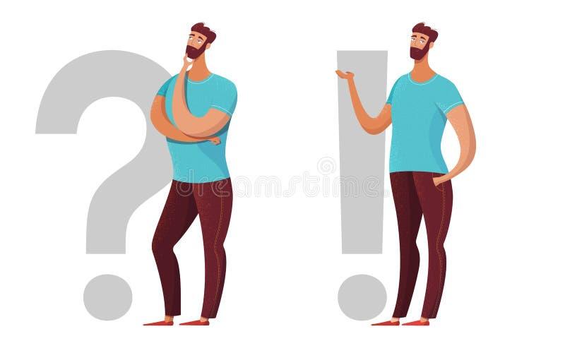 Homem, pergunta, ilustração lisa da marca de exclamação ilustração stock