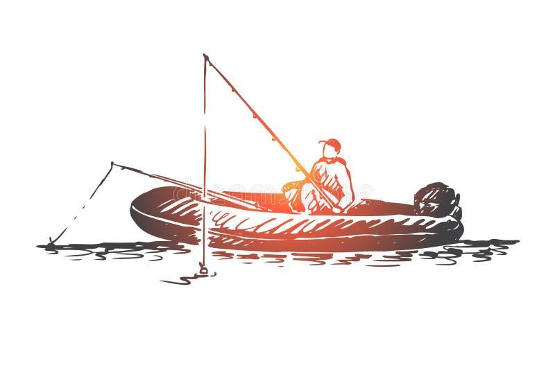 Homem, pesca, barco, lago, conceito da atividade Vetor isolado tirado m?o ilustração royalty free