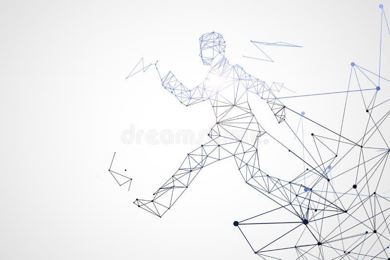 Homem poligonal running ilustração stock