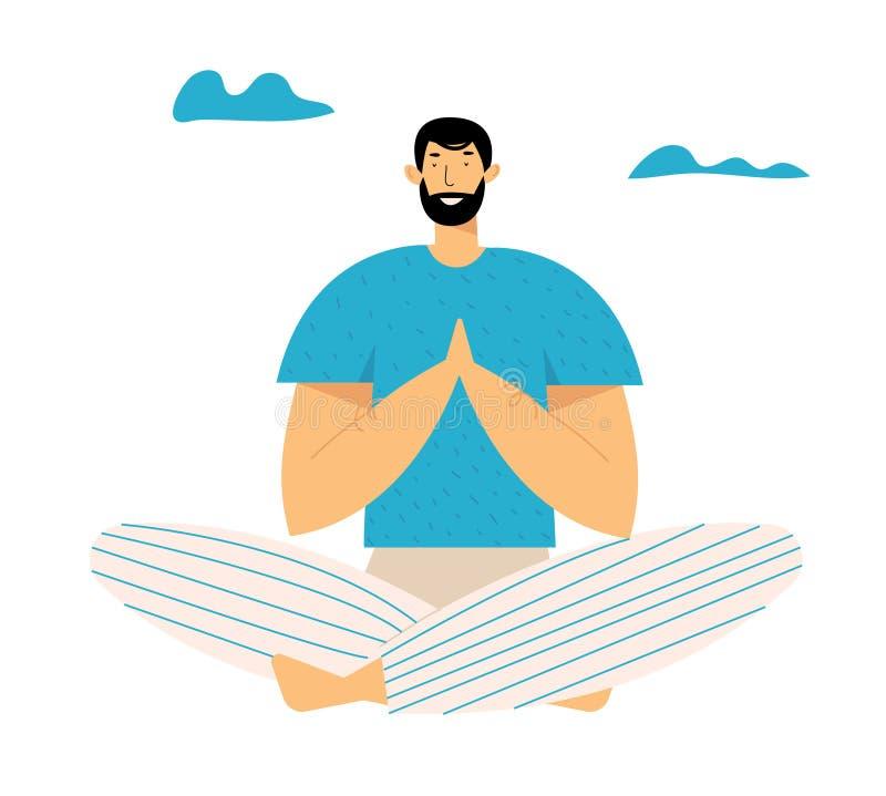 Homem Praticando Meditação de Yoga ao ar livre em Lotus Pose por Menos Estresse Estilo de vida saudável, equilíbrio emocional de  ilustração stock