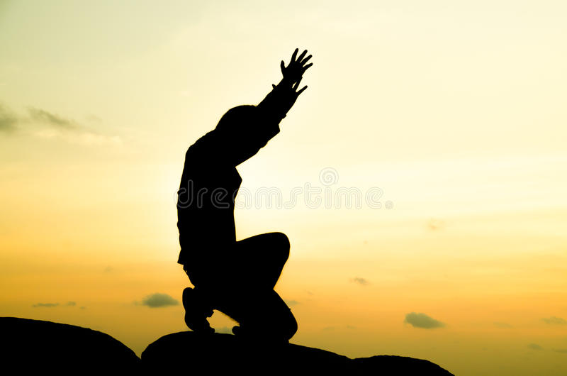 Homem Praying fotos de stock royalty free