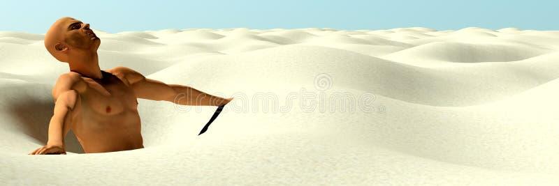 Homem prendido na areia ilustração do vetor