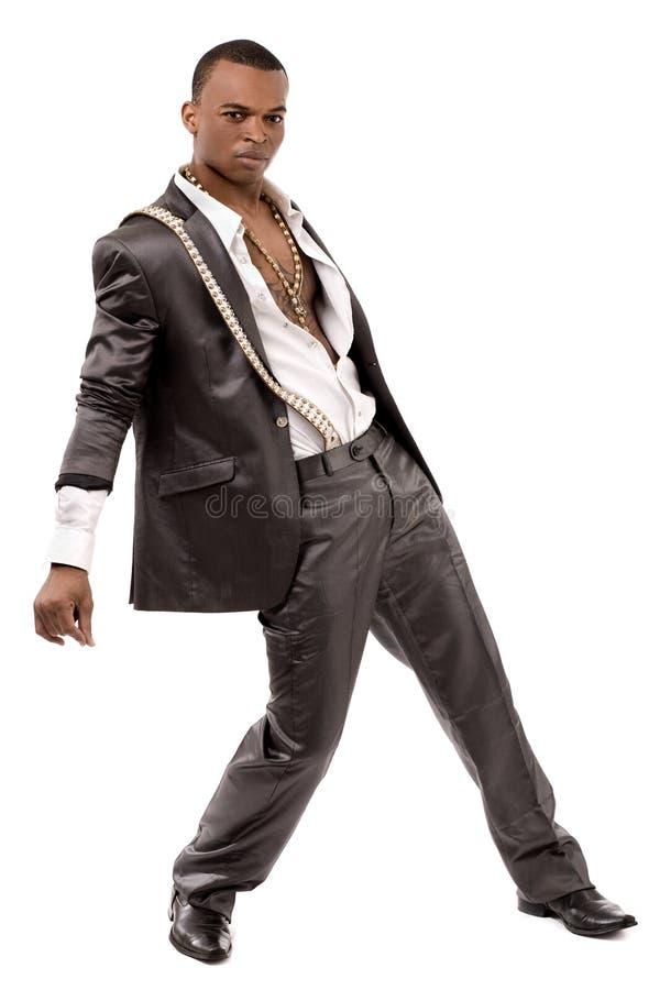 Homem preto da forma que levanta na câmera fotos de stock royalty free