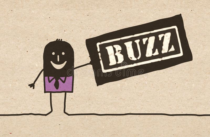 Homem preto dos desenhos animados com sinal do zumbido ilustração royalty free